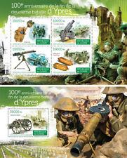 Battle of Ypres World War I Military Wars Guinea MNH stamp set