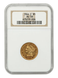 1844-C $5 NGC AU58 (OH) Desirable Charlotte Mint Gold