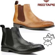 Mens Leather Chelsea Boots New Smart Formal Brogue Combat Ankle Boots Shoes Size
