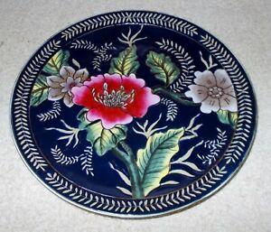 ORIENTAL ACCENT 10 in DECORATIVE PLATE Dark Blue with Floral Design Ceramic