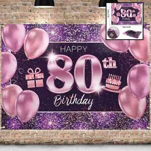 PAKBOOM Happy 80Th Birthday Banner Backdrop 80 Party Decorations Supplies For Wo
