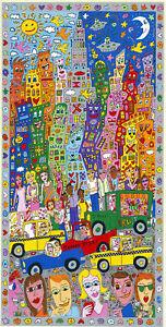 James Rizzi - The City that never sleeps - Farbsiebdruck auf Klebefolie- hands.