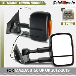Extendable Black Towing Mirrors Fit for Mazda BT-50 2012-2019 Pair w/ Indicators