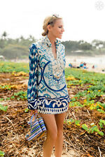 Tory Burch Tunic  $395 Aglaja Silk Sz  10  Classic Resort Cruise Blue BEAUTY