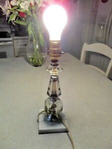 Vintage Clear Glass Marble Base Boudoir Lamp Original Wiring