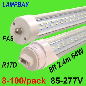 8-100/pack Double Row LED Tube Light 8ft 2.4m FA8 R17D HO Lamp Super Bright Bulb
