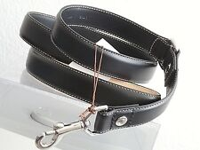 COACH BLACK LEATHER W SILVER COACH GROMMETS  DOG LARGE L LEASH FOR COACH COLLARS