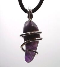 Banded Amethyst Sterling Silver Hand Forged Wire Art Wrap Pendant