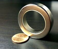 "One Large Neodymium N52 Ring Magnet Super Strong Rare Earth 1.5"" x 1"" x 3/8"""
