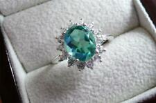 OVAL BLUE PEACOCK QUARTZ NATURAL ZIRCON 925 SILVER ENGAGEMENT RING SZ Q1/2 8.75