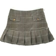 Candies Girls Sz 8 Brown Blue Plaid Skorts Shorts Pleated Lined EUC