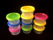 50 Plastic Small ROUND Storage Container With Colored Lid 6.5 x 3.5cm 85ml New
