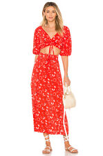 FREE PEOPLE Red Print DANNI JANE Crop Top + Midi Maxi Skirt Dress 2 pc Set 0 XS