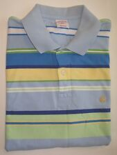 Men's Brooks Brothers 346 SZ L Cotton Striped Polo Shirt Gold Sheep