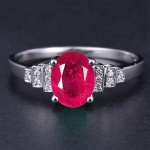 1.90Ct AA Natural Burmese Ruby & IGI Certified Diamond Ring In 14KT White Gold