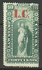 "Quebec #QL4, 1864 40c ""L.C."" Overprint Law Stamp - Revenue, Combo Cancel / Used"