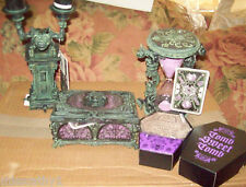 Disney Haunted Mansion Set Gargoyle Candelabra  Music Box Hourglass & Coasters