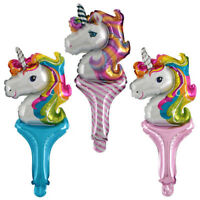 10pcs main Stick Licorne feuille ballons enfants Toy anniversaire Party