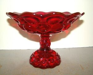 L.G. Wright Moon & Star Ruby Red Compote