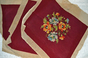 """3 Vtg Finished POPPIES Needlepoint Chair Pillow Cover Burgundy Floral 18 x 21"""""""