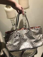 Rare GUCCI Guccissima Silver Metallic Tote Leather Large GG Handbag Bag WOW!
