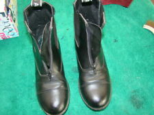 size7 black leather ASCOT elas/sided front zip horse riding boots 25.5cm sol vgc