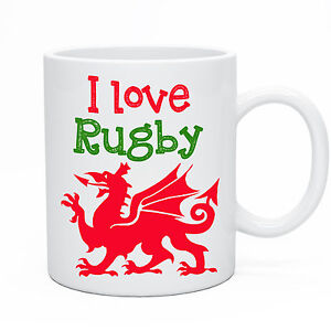 Welsh Wales Rugby Mug Dragon Design Six Nations 2017 / Calon Lân Back