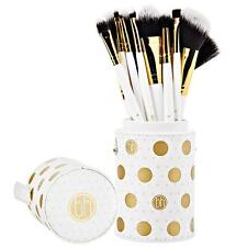 BH COSMETICS DOT COLLECTION 11 PIECE BRUSH SET WHITE GOLD CASE CUP HOLDER NEW