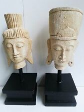 BALINESE COUPLE MAN & WOMAN HEADS ON STANDS HAND CARVED WOOD STATUES BALI 35CM