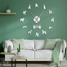 Dog Breed Airedale Bingley Terrier 3D Mirror Sticker DIY Large Silent Wall Clock