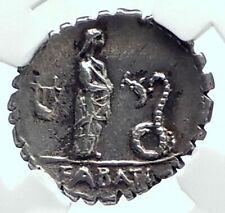 Roman Republic 64BC JUNO Lanuvium Festival GIRL v SERPENT Silver Coin NGC i78533
