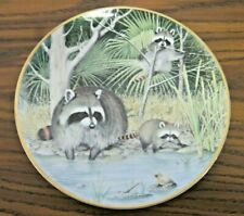 """Franklin Porcelain The Woodland Year """"Curious Raccoons at an April Pond"""" Plate"""
