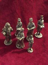 Vintage Fine Pewter Figurines Dickens Christmas Carolers Set 6 Franklin Mint