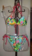 Sexy Joe Boxer Hawaiian Print String Bikini Swim Suit, Size-Top M, Bottom L