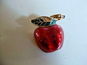 Swarovski Swan Mark Red Enamel with Gold tone Apple Pin Brooch