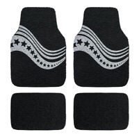 Universal Waterproof Stars Coil Car Floor Mats Durable Black and White 4 PCS
