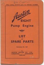 Austin Eight 8 Pump Engine original Spare Parts List May 1939 Pub. No. 1807