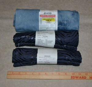 Cotton fabric, lot of 3 remnants, blue denim