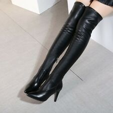 Fashion Women Leather Black Over Knee Thigh High Stiletto Stretchy Ladies Boots
