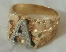 14k White & Yellow Gold Genuine Diamond Initial A Nugget 9-Gram Ring Size 8.75