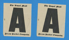 """Lot of 2 """"A"""" Luggage Decals - Royal Mail Steam Packet Company Rmsp"""