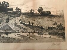 Vintage Etching by G.W. Bohde, signed in pencil, antique frame, 1891