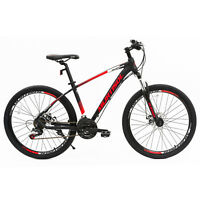 """26"""" Red Aluminum Mountain Bike 21 Speeds Disc Brakes Front Suspension Bicycle"""