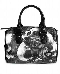 Liquor Brand Doomed Skull Roses Tattoos Gothic Punk Handbag Purse LB-BRB-00042