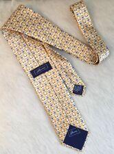 BRIONI Classic Silk Tie Yellow w/ Blue Gold Floral Motif Handmade ITALY EUC!