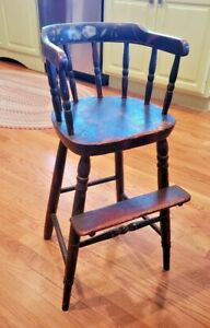 ANTIQUE CHILD'S DOLL'S HIGH CHAIR PAINTED