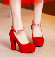 Womens Rhinestones Tassels Chunky High Heel Ankle Strap Pumps Shoes Red Weeding