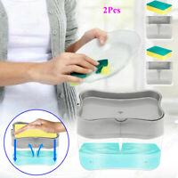 2pcs 2-in-1 Press Liquid Soap Dispenser Pump Dish Sponge Caddy Kitchen Washing