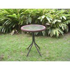 International Caravan Outdoor Resin Wicker and Glass-top Bistro Table, Mocha