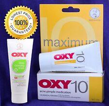 OXY 10 Maximum Strength Acne Pimple Blemish 10% Benzoyl Peroxide+ Deep Acne Wash